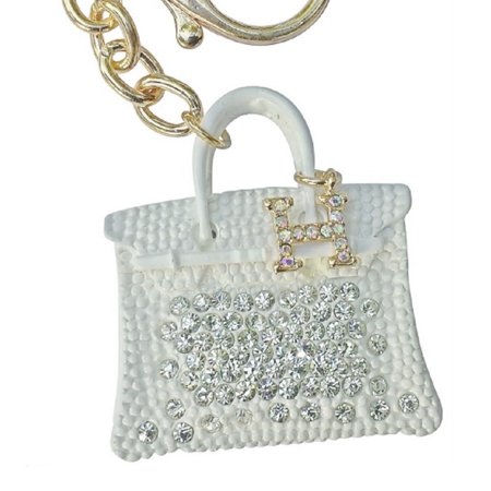 Am Landen Elegant Rhinestone Bling Key Chains Series White Birkin
