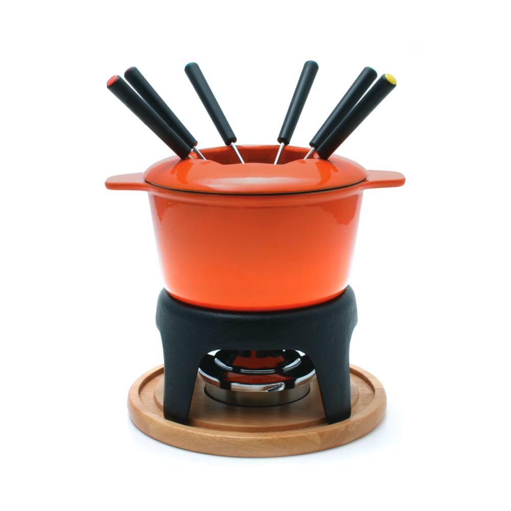 Swissmar Sierra 11 Piece Cast Iron Fondue Set, Orange by Swissmar