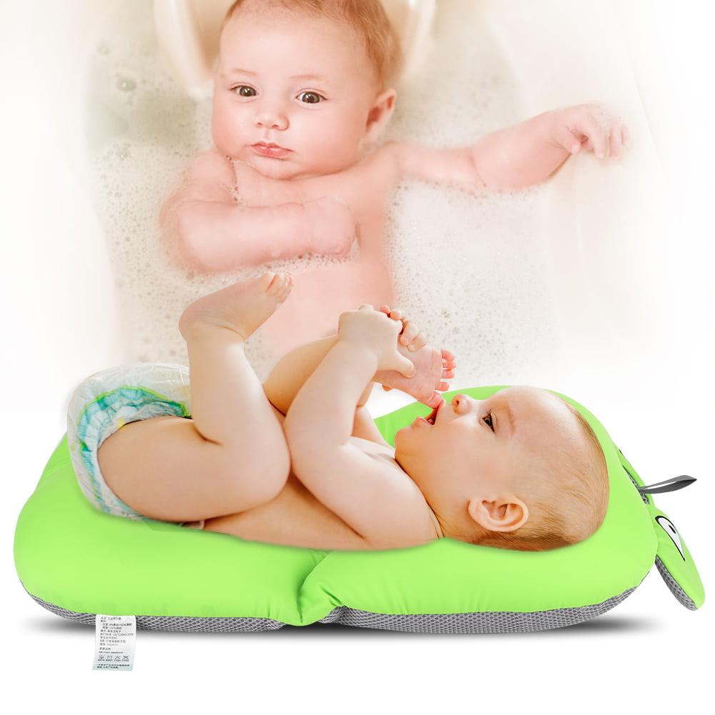 Fosa Foldable Non Slip Cute Frog Baby Bath Mat Soft Bathing Cushion Toddler Bathtub Safety Seat Pad, Non Slip Baby Bath Mat, Baby Bathing Cushion