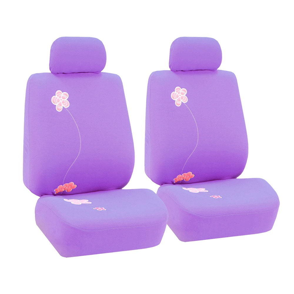 FH Group Floral Embroidery Design Airbag Compatible Car Seat Covers, Pair, Purple