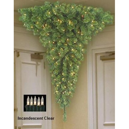 barcana 4 upside down corner tree with clear lights - Barcana Christmas Trees