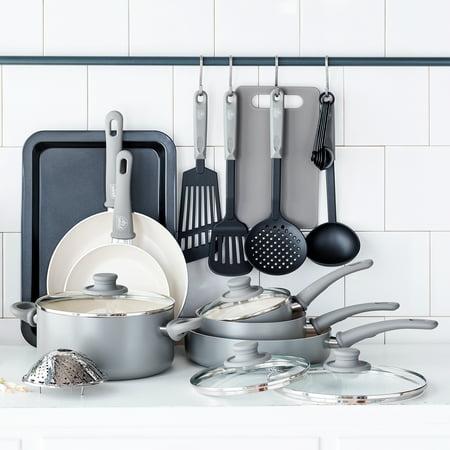 Greenlife Ceramic Non-stick 18 Piece Cookware Set, Grey