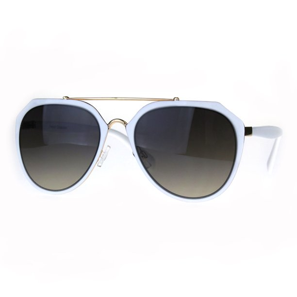 Luxury Metal Rim Gradient Lens Luxury Pilots Designer Sunglasses White Smoke