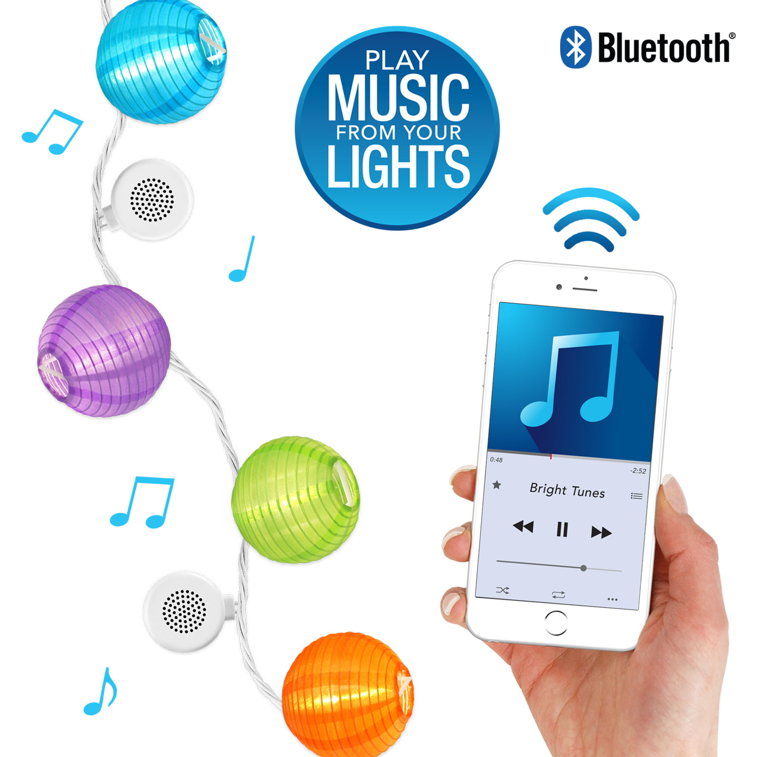 Bright Tunes Indoor Outdoor White LED's with Decorative Nylon Lanterns String Lights with Bluetooth Speakers, White Cord by Innovative Technology