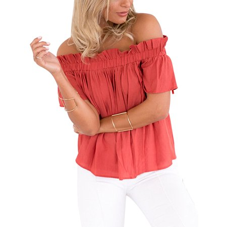 Ruffle Neck T-shirt - Plus Size Women Off Shoulder Ladies Casual Summer Tops T-Shirt Blouse Girl Short Sleeve Fitted Ruffled Slash Neck Shirt