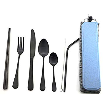 Spoon Durable Travel Cutlery Set-Wheat Chopsticks Smoothie Straw and Cleaning Brush Knife TIMGOU Portable 7 Pieces Flatware Set Reusable 304 Stainless Steel Fork Juice Straw