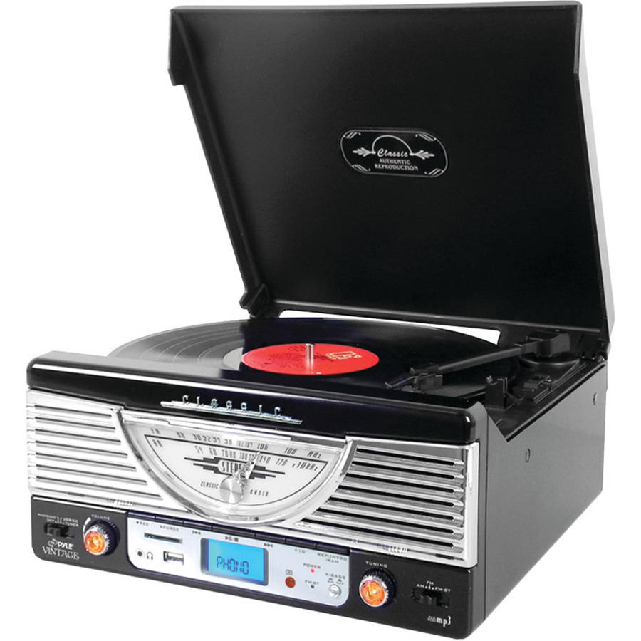 Pyle Home PTR8UBTBK Bluetooth Retro Vintage Classic Style Turntable Vinyl Record Player with USB/MP3 Computer Recording