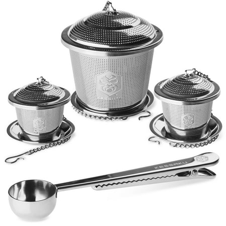 - Kessaku Premium Tea Infuser Set  - Deluxe Combo Kit of 1 Single Cup, 1 Medium, 1 Large Infuser, Drip Trays and Scoop with Bag Clip - Reusable Stainless Steel Strainers and Steepers for Loose Leaf Teas