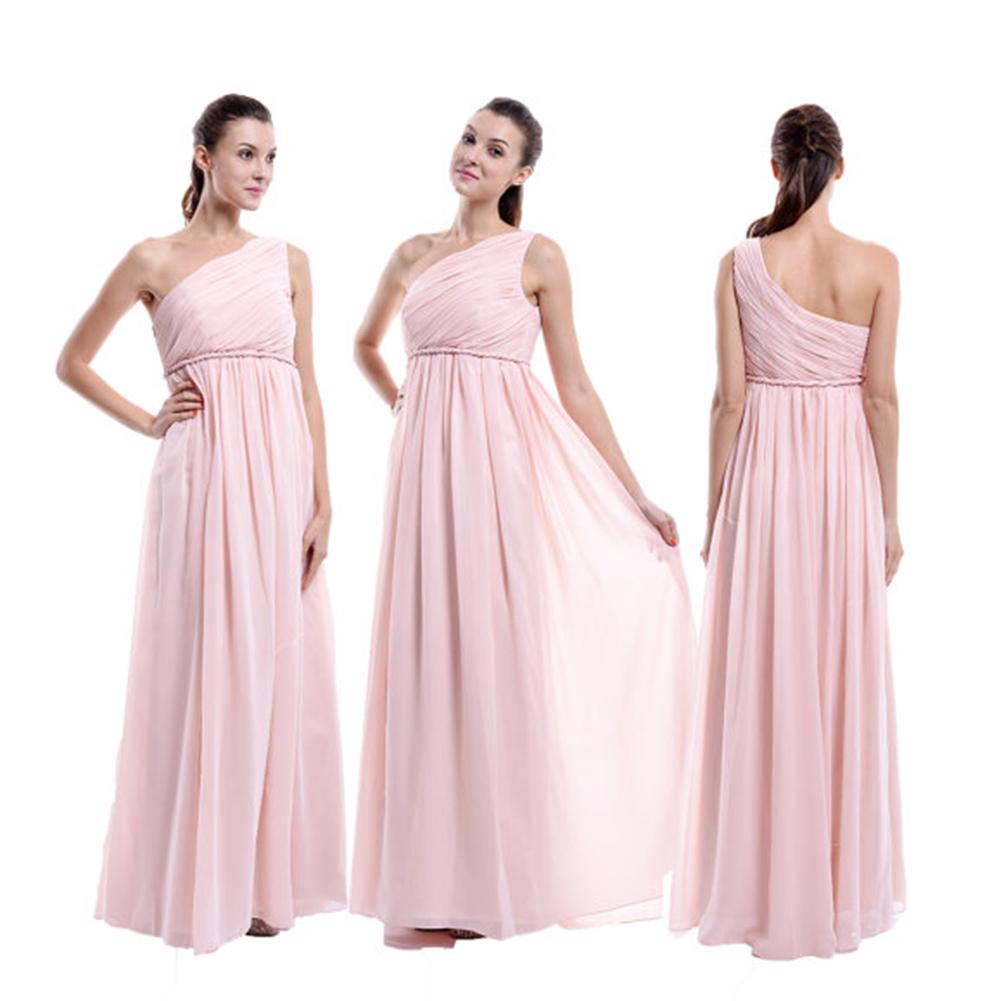 Albizia Pink Maternity One Shoulder Empire Waist For Pregnant Women prom Dress