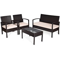 Deals on Costway Goplus 4 Pcs Outdoor Patio Garden Rattan Wicker Sofa Set