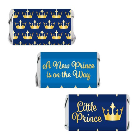 Blue and Gold Royal Little Prince Baby Shower Candy Wrapper Sticker Labels for Hershey's Miniature Bars (Set of 54)