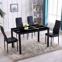 Product Image Zimtown New Modern 5 Pcs Dining Table Set With 4 Leather Chairs Kitchen Room Furniture All