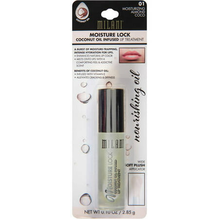 Milani Moisture Lock Coconut Oil Infused Lip Treatment, 01 Moisturizing Almond Coco, 0.1 oz