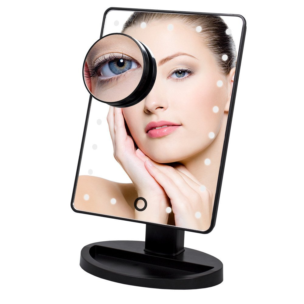 22 Led Lighted Makeup Mirror With Removable 10X Magnifying Mirror Led Makeup Mirror Touch Screen Rectangle Desktop Cosmetic Mirror