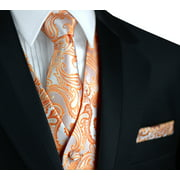 Italian Design, Men's Formal Tuxedo Vest, Tie & Hankie Set for Prom, Wedding, Cruise in Tangerine Paisley
