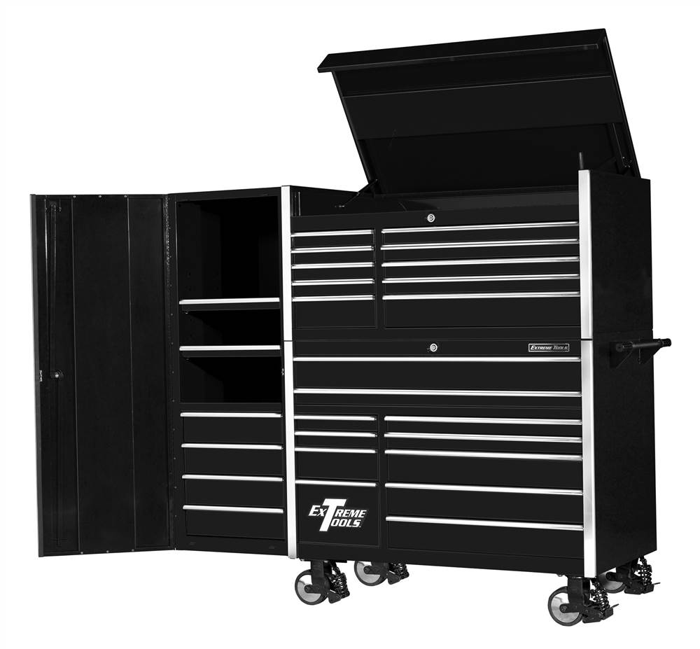 11 Drawer Steel Roller Cabinet w Tool Top Chest - Black Finish