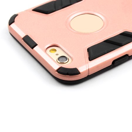 Bracket Stand Design Dual Layer Protective Phone Case Rose Gold for iPhone 6S - image 3 de 7