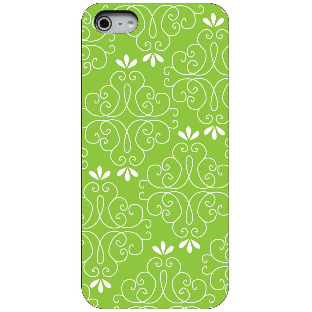 CUSTOM Black Hard Plastic Snap-On Case for Apple iPhone 5 / 5S / SE - Lime Green White Floral