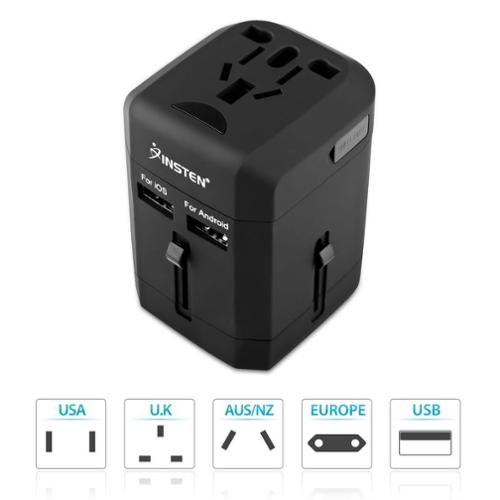 Insten Universal All-In-One Worldwide Travel Adapter Plug Kit AC Wall Socket Power Charger with 2.5A Dual USB Charging Ports (US UK EU EURO AU CN CHINA International)
