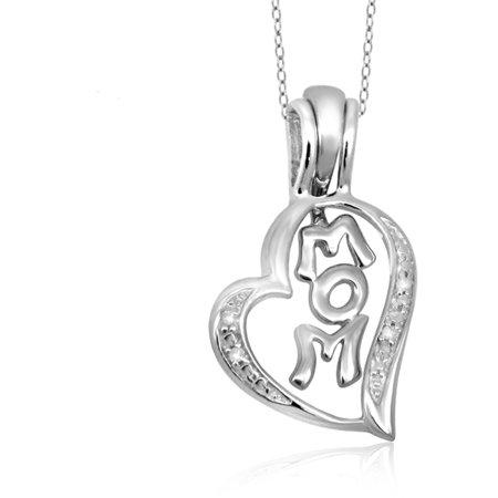 Jewelersclub 1 20 Carat T W  White Diamond Sterling Silver Mom Heart Pendant