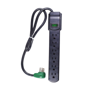 GoGreen Power 6 Outlet Surge Protector, GG-16103MSBK 2.5' cord, Black
