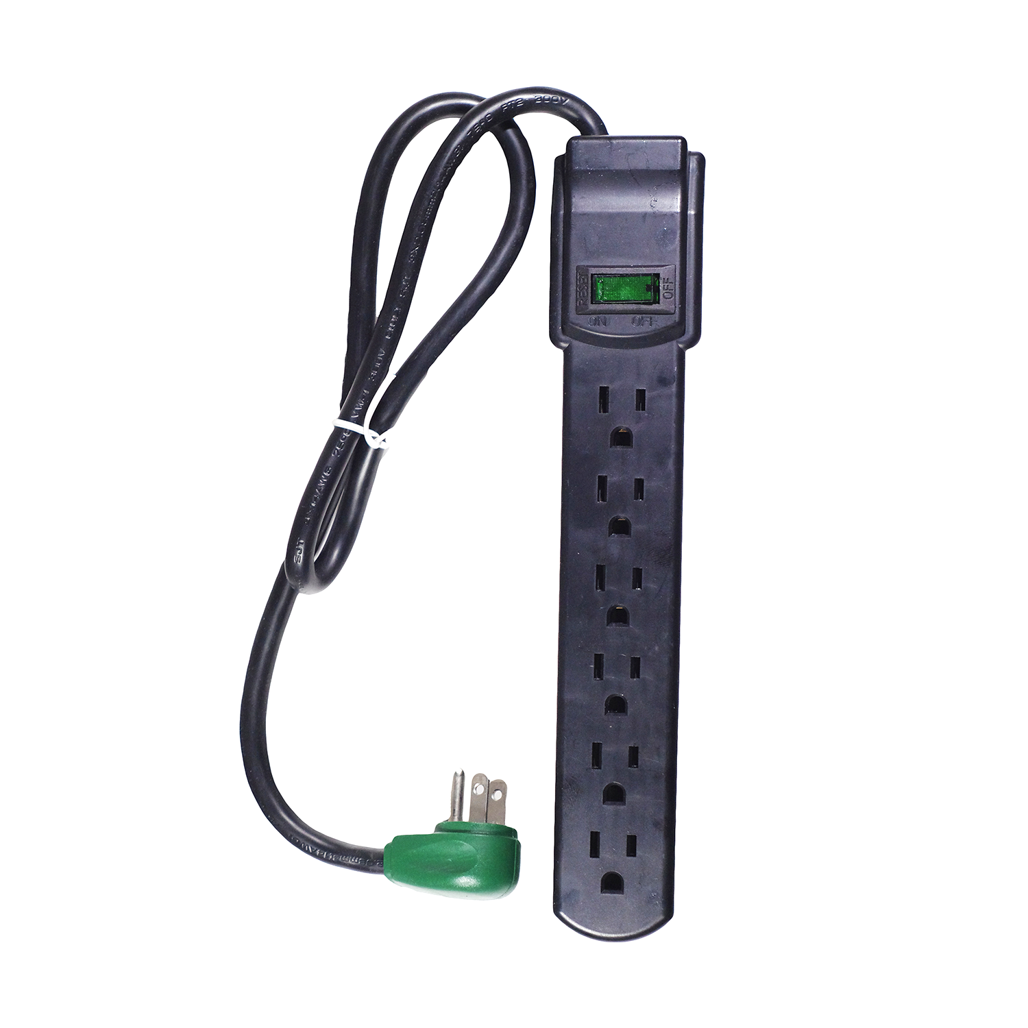 GoGreen Power 6 Outlet Surge Protector, 16103MS 2.5' cord, White