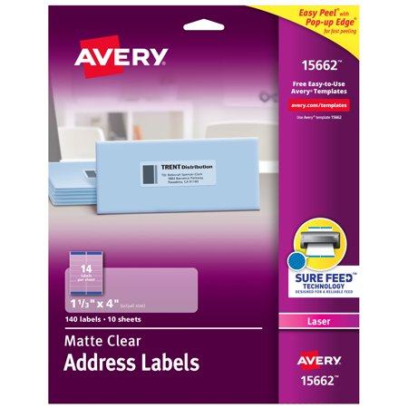 Avery Matte Clear Address Labels, Sure Feed Technology, Laser, 1-1/3