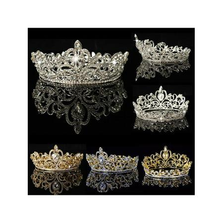 Crystal Rhinestone Crown Tiara Wedding Pageant Bridal Diamante Headpiece](Gold Crown Headpiece)
