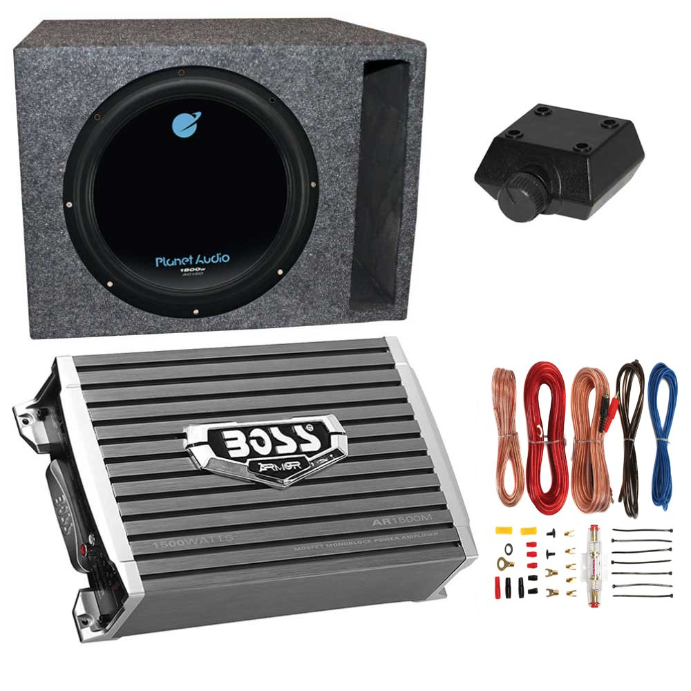 planet audio 1800w subwoofer boss 1500w amplifier w amp kit qplanet audio 1800w subwoofer boss 1500w amplifier w amp kit q power enclosure walmart com