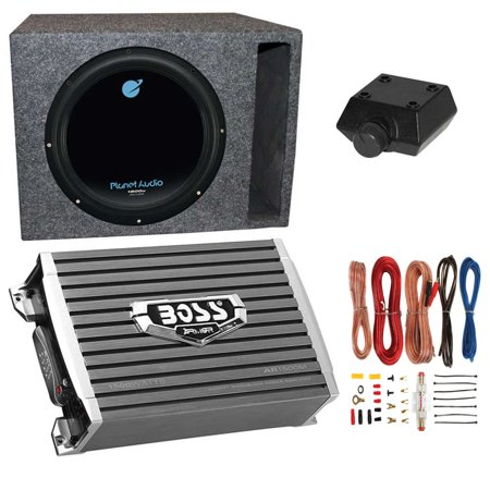 - Planet Audio 1800W Subwoofer + Boss 1500W Amplifier w Amp Kit +Q-Power Enclosure