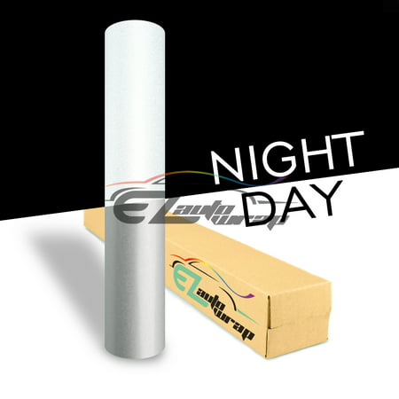 EZAUTOWRAP White Night Reflective Vinyl Wrap Sticker Decal Graphic Sign Self Adhesive Film Roll For Car Vehicle Boat Truck Trailer RV Motorcycle Bike Road Sign Party Club Decoration Decal Stickers For Cars