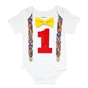 Noah's Boytique Superhero First Birthday Outfit Super Hero Shirt Party Cake Smash Outfit Comic Book Theme 18-24 Months