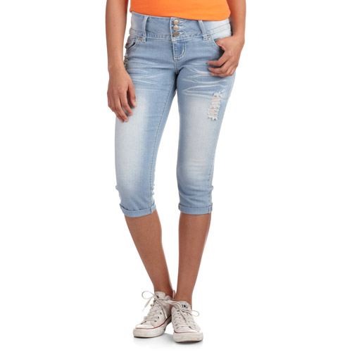 No Boundaries Juniors 3 Button Cropped Jeans