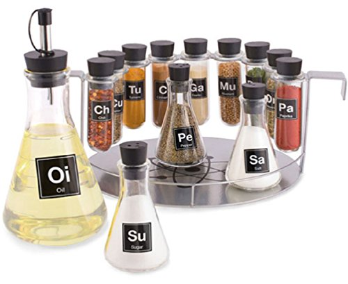 Chemist's Spice Rack, 14 Piece Chemistry Spice Rack Set by Wild Eye Designs
