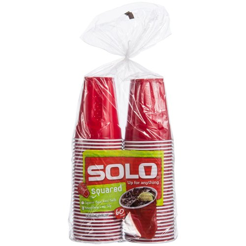 Solo Squared Red Party Cups, 18 Oz, 60 Count