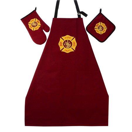 - Fire Dept BBQ Grill Kit Oven Mitt Hot Stove Pot Holder FF Apron Firefighter Gift