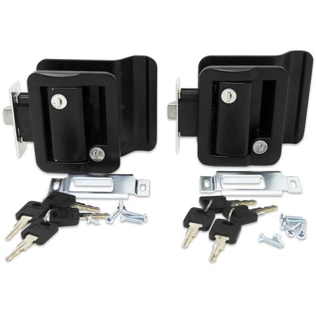 2 Pack Black RV Entry Door Lock Handle Knob w/ Deadbolt Camper Travel