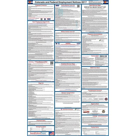 2017 Colorado State And Federal Labor Law Poster  Laminated