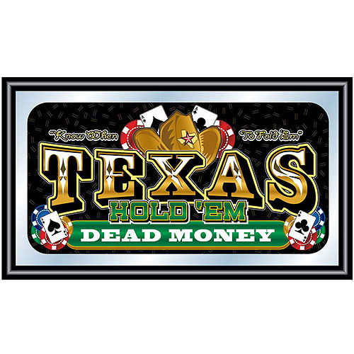 Framed Texas Hold 'em Wall Mirror, Dead Money