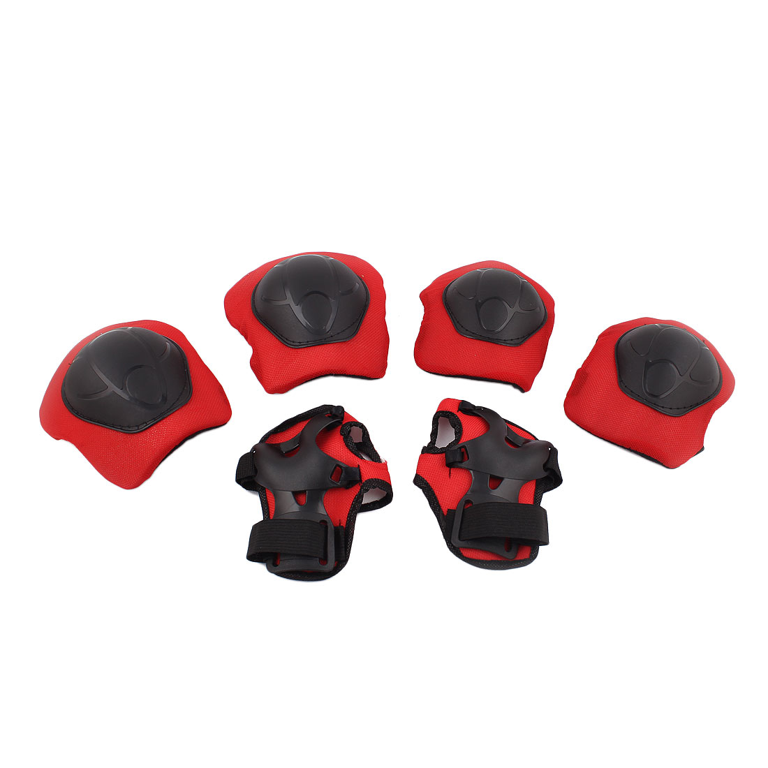 Unique Bargains 6 in 1 Set Skating Red Black Palm Wrist Guard Elbow Knee Pad Protector