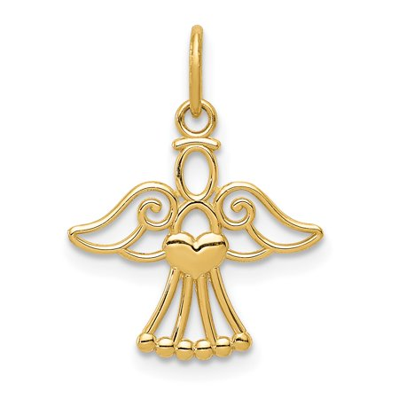 14k Yellow Gold Small Angel Heart Pendant Charm Necklace Holiday Fine Jewelry For Women Gift Set