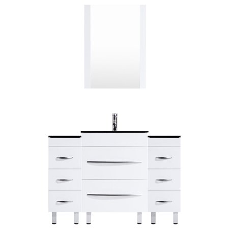 54 White Vanity Set - One 30 Sink Base, Two 12 Drawer Bases (LV4-C5-54-W)