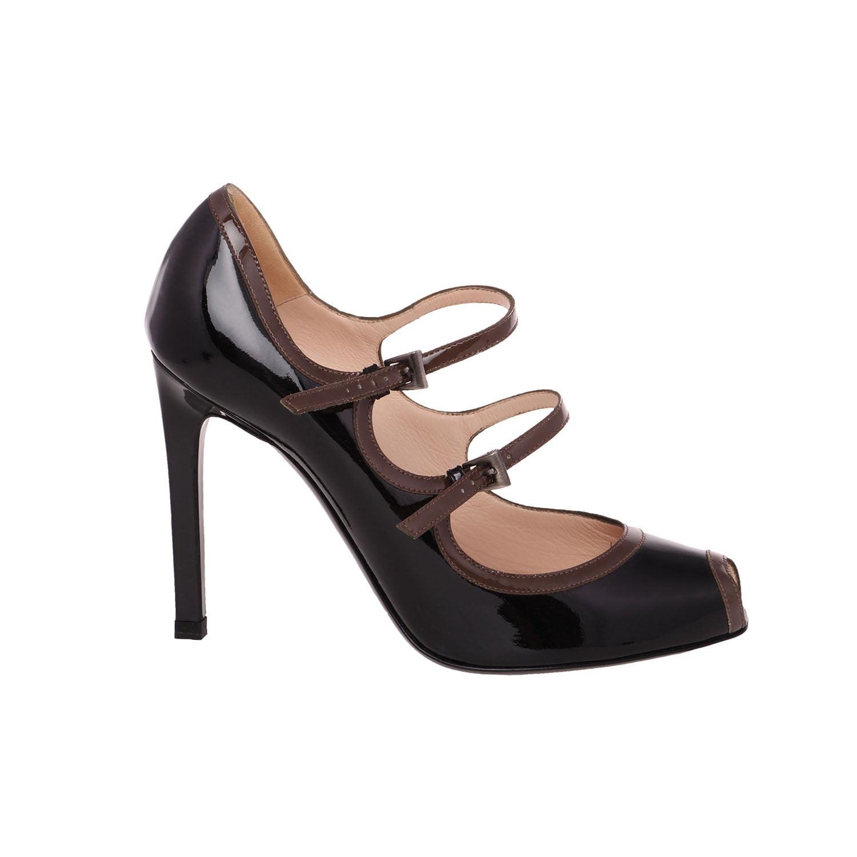 Giorgio Armani Women Black Patent Leather Peep Toe Mary US Jane Stiletto Pump Shoes US Mary 8.5 EU 38.5 d996b5