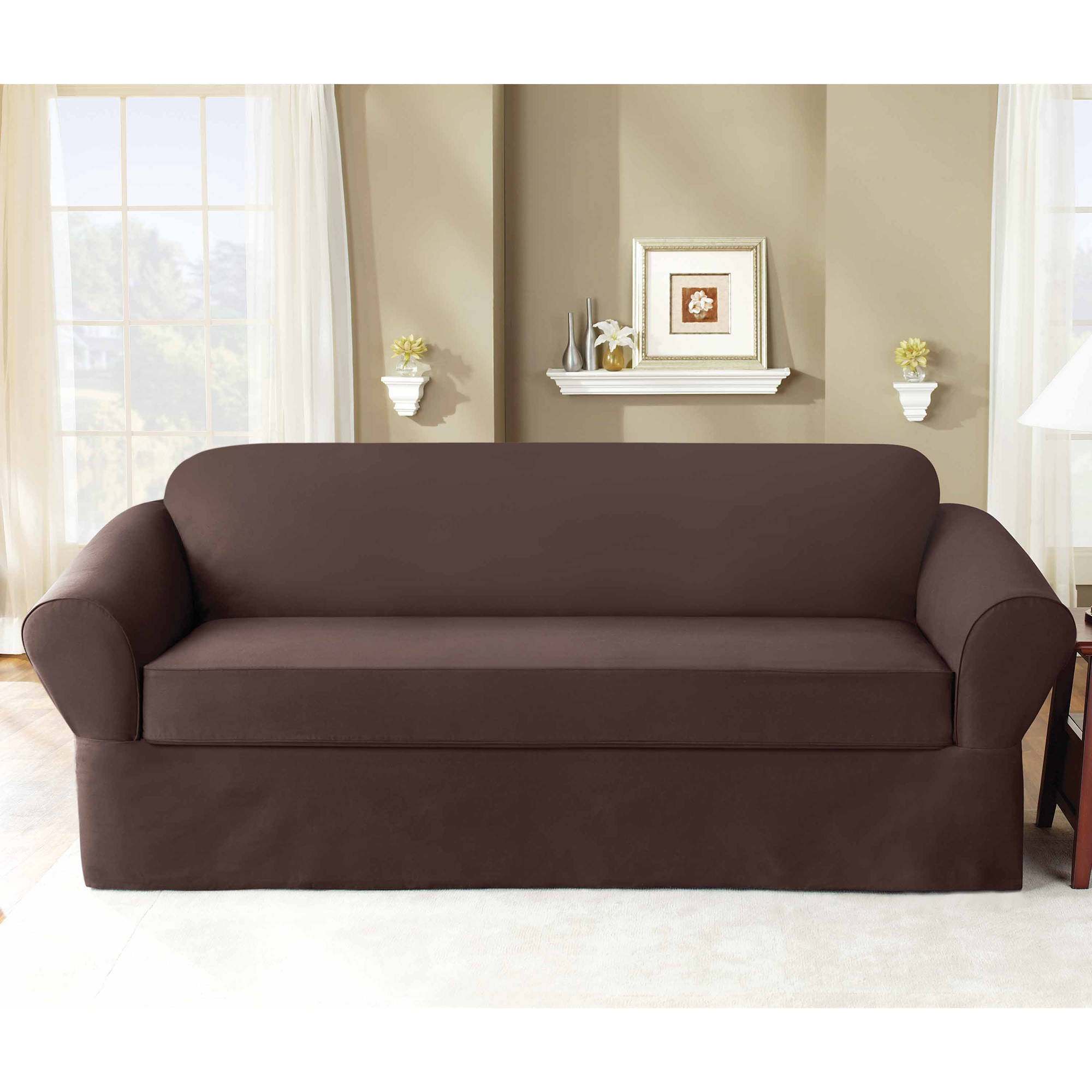 Sure Fit 6 oz Cottin Twill 2-Piece Separate Seat Sofa Slipcover by Sure Fit