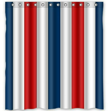 MOHome Red White And Blue Stripes Shower Curtain Waterproof Polyester Fabric Size 66x72 Inches