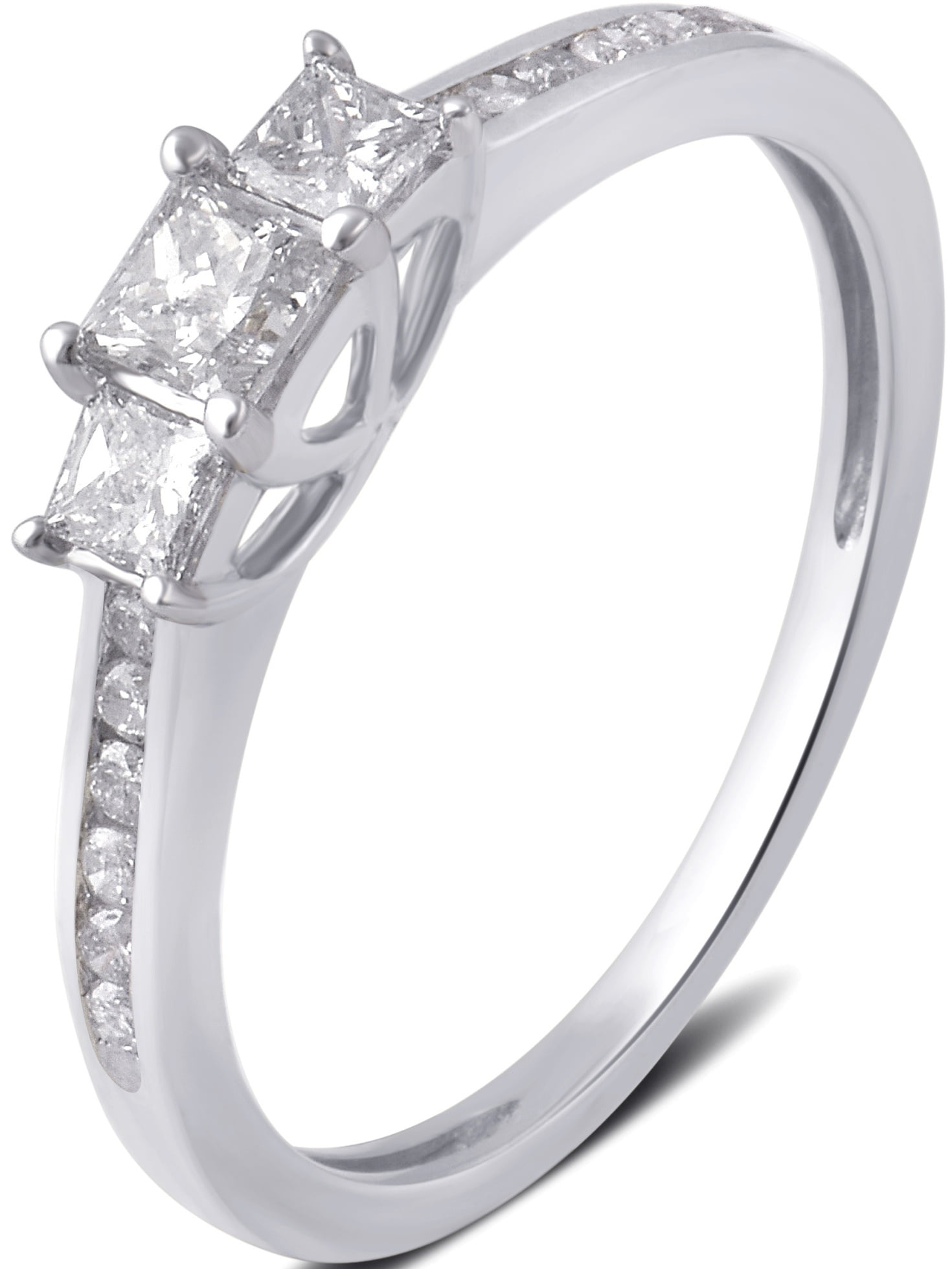 1 2 Carat T.W. 3 stone Princess Diamond 10K White Gold Engagement Ring by Generic