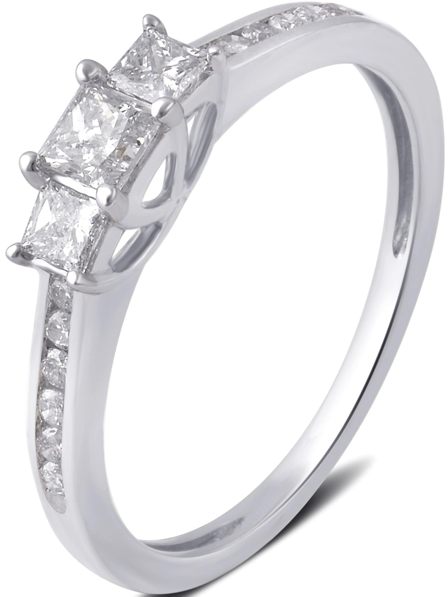 1/2 Carat T.W. 3 stone Princess Diamond 10K White Gold Engagement Ring