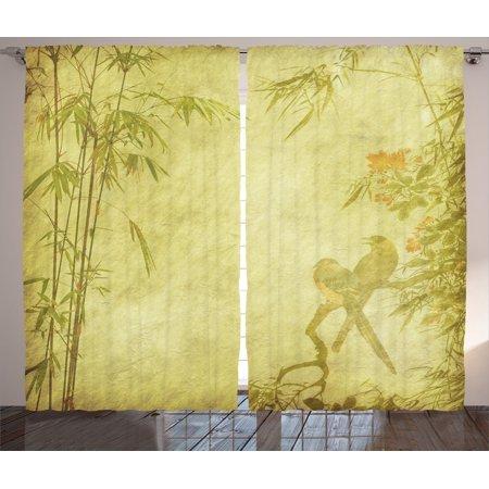 Curtains Ideas curtains birds theme : Bamboo House Decor Curtains 2 Panels Set, Silhouettes Of Birds On ...