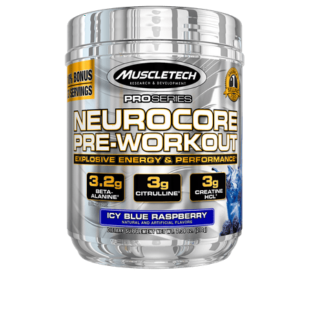 Pro Series Neurocore Pre Workout Powder with Creatine, Beta-Alanine, & Citrulline, Icy Blue Raspberry, 30 Servings