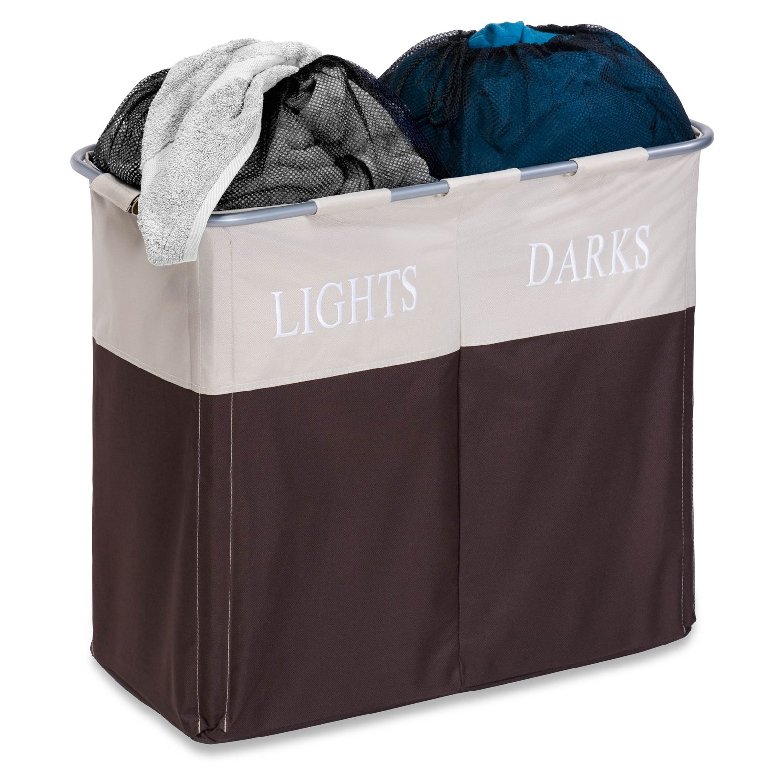 Honey Can Do Dual Laundry Hamper for Light and Dark Clothing, Multicolor